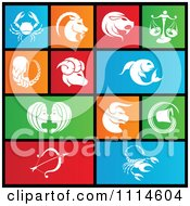 Set Of Colorful Square Birth Sign Zodiac Metro Style Icons