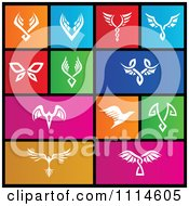 Set Of Colorful Square Butterfly And Bird Metro Style Icons