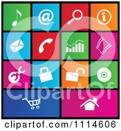 Clipart Set Of Colorful Square Web Site Metro Style Icons Royalty Free Vector Illustration