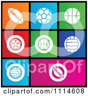 Clipart Set Of Colorful Square Sports Ball Metro Style Icons Royalty Free Vector Illustration by cidepix