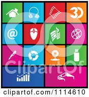 Clipart Set Of Colorful Square Web Browser Metro Style Icons Royalty Free Vector Illustration