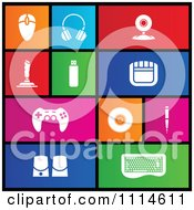 Clipart Set Of Colorful Square Computer PC Accessories Metro Style Icons Royalty Free Vector Illustration by cidepix