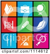 Clipart Set Of Colorful Square School Metro Style Icons Royalty Free Vector Illustration by cidepix