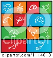 Set Of Colorful Square Zodiac Metro Style Icons