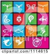 Clipart Set Of Colorful Square Animal Metro Style Icons Royalty Free Vector Illustration by cidepix