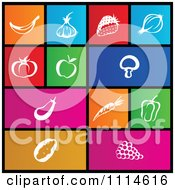 Clipart Set Of Colorful Square Food Metro Style Icons Royalty Free Vector Illustration by cidepix