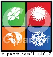 Clipart Set Of Colorful Square Season Metro Style Icons Royalty Free Vector Illustration by cidepix