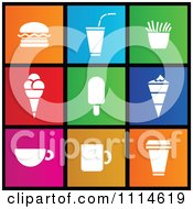 Clipart Set Of Colorful Square Food Ice Cream And Coffee Metro Style Icons Royalty Free Vector Illustration by cidepix