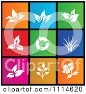 Clipart Set Of Colorful Square Leaf And Flower Metro Style Icons Royalty Free Vector Illustration by cidepix