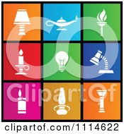 Clipart Set Of Colorful Square Light Metro Style Icons Royalty Free Vector Illustration