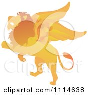 Clipart Golden Winged Lion Rearing Royalty Free Vector Illustration by Pams Clipart