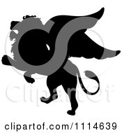Black Silhouetted Winged Lion Rearing