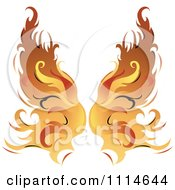 Clipart Pair Of Flaming Golden Wings Royalty Free Vector Illustration