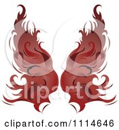 Clipart Pair Of Flaming Red Wings Royalty Free Vector Illustration by Pams Clipart