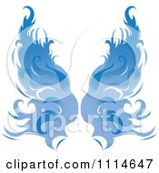 Clipart Pair Of Flaming Blue Wings Royalty Free Vector Illustration by Pams Clipart