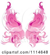 Clipart Pair Of Flaming Pink Wings Royalty Free Vector Illustration