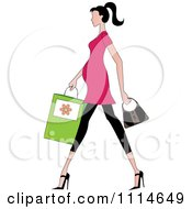 Clipart Slender Dark Haired Pregnant Woman Walking With A Shopping Bag And Purse Royalty Free Vector Illustration