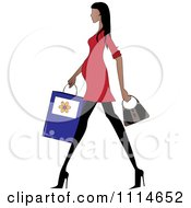 Clipart Slender Hispanic Pregnant Woman Walking With A Shopping Bag And Purse Royalty Free Vector Illustration by Pams Clipart