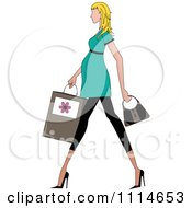 Clipart Slender Blond Pregnant Woman Walking With A Shopping Bag And Purse Royalty Free Vector Illustration by Pams Clipart