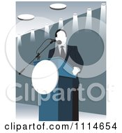Clipart Politician Speaking At A Podium In Blue Tones Royalty Free Vector Illustration
