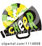 Clipart Cheerleader Pom Pom And Megaphone In Green And Yellow Tones Royalty Free Vector Illustration by Johnny Sajem