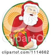 Clipart Santa Holding Out A Present Over A Circle Of Orange Rays Royalty Free Vector Illustration