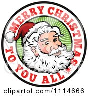 Clipart Santa In A Circle With Merry Christmas To You All Text Royalty Free Vector Illustration