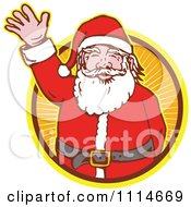 Clipart Retro Waving Santa In An Orange Ray Circle Royalty Free Vector Illustration by patrimonio