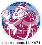Clipart Retro Waving Santa In A Blue Ray Circle Royalty Free Vector Illustration