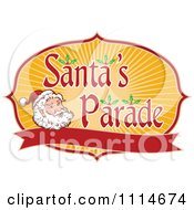 Clipart Santa Face With Rays And Santas Parade Text Above A Blank Banner Royalty Free Vector Illustration