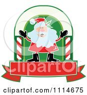 Clipart Happy Santa In An Arch Above A Banner Royalty Free Vector Illustration