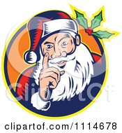 Clipart Retro Santa Holding Up A Finger In An Orange Circle With Holly Royalty Free Vector Illustration by patrimonio
