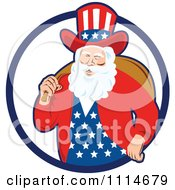 Clipart Patriotic American Or Uncle Sam Santa With A Bag In A Blue Ring Royalty Free Vector Illustration