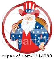Clipart Patriotic American Or Uncle Sam Santa With A Bag In A Red Ring Royalty Free Vector Illustration