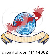 Clipart Silhoeutted Santa And Reindeer Over A Blue Globe With A Blank Banner Royalty Free Vector Illustration by patrimonio