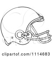 Clipart Outlined American Football Sports Helmet In Profile Royalty Free Vector Illustration