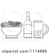 Outlined Bowl Of Potato Chips With A Beer Bottle And Mug