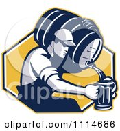 Clipart Retro Man Pouring Beer Into A Mug From A Keg Over A Yellow Hexagon Royalty Free Vector Illustration