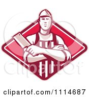 Retro Butcher Holding A Cleaver In Folded Arms Over A Red Diamond