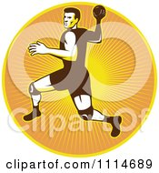 Clipart Retro Handball Player Over A Circle Of Rays Royalty Free Vector Illustration