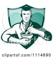 Clipart Retro Pharmacist Holding A Mortar And Pestle Over A Ray Shield Royalty Free Vector Illustration