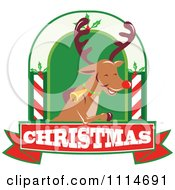 Clipart Christmas Rudolph Reindeer Over A Christmas Banner Royalty Free Vector Illustration by patrimonio