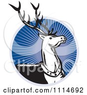 Clipart Retro Christmas Reindeer Over A Blue Ray Circle Royalty Free Vector Illustration