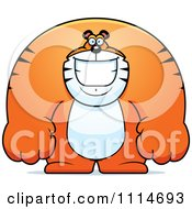 Clipart Happy Buff Tiger Smiling Royalty Free Vector Illustration by Cory Thoman