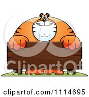 Clipart Buff Tiger Behind A Wooden Sign Royalty Free Vector Illustration