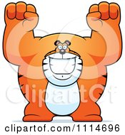 Clipart Excited Buff Tiger Cheering Royalty Free Vector Illustration by Cory Thoman