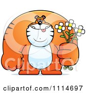 Clipart Buff Tiger Holding Flowers Royalty Free Vector Illustration by Cory Thoman