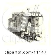 Ink Dot Design Of A Train Caboose Clipart Illustration