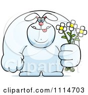 Clipart Buff Rabbit Holding Flowers Royalty Free Vector Illustration by Cory Thoman