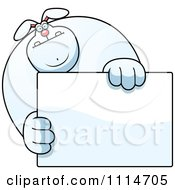 Clipart Buff Rabbit Holding A Sign 1 Royalty Free Vector Illustration